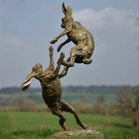 Bronze Hare Sculpture 2018 of Hares Boxing by Hamish Mackie