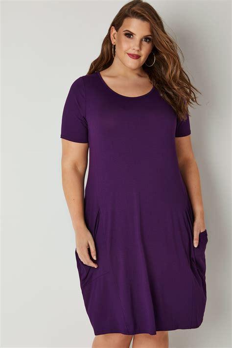 drape nj purple draped pocket jersey dress plus size 16 to 36
