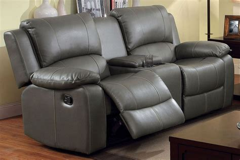 Gray Reclining Loveseat by Sarles Gray Reclining Console Loveseat From Furniture Of