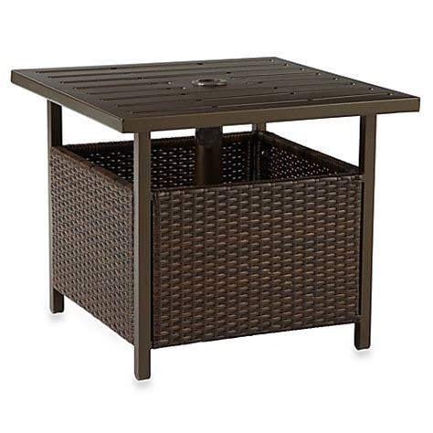 bed bath and beyond side table wicker umbrella side table in bronze bed bath beyond