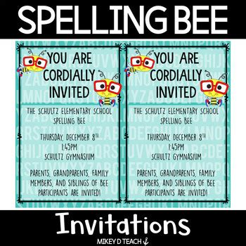 spelling bee invitations freebie  mikey  teach