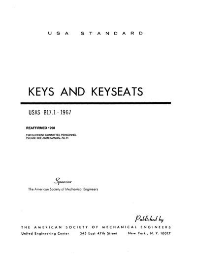 ANSI B17.1-1967 (R1998) - Keys and Keyseats