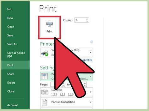 ways  print part   excel spreadsheet wikihow