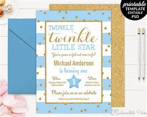 Free Editable Christmas Party Invitations Printable Twinkle Little Star Boy Birthday Party