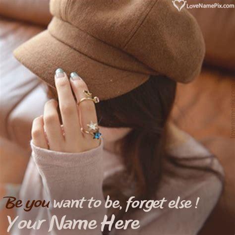 write   stylish girl  cap hidden face fb picture
