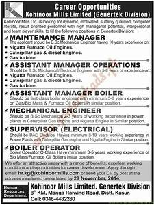 Maintenance Manager, Assistant Manager Operations ...