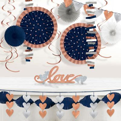 Navy & Rose Gold Table Decorating Kit 4pc Party City