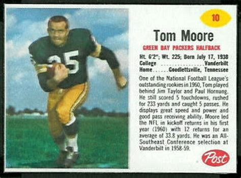 tom moore  post cereal  vintage football card gallery