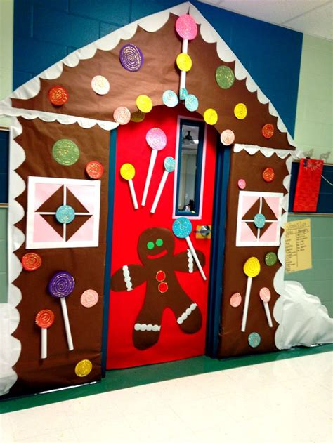gingrbread house on school door gingerbread house classroom door classroom the roof gingerbread houses and snow