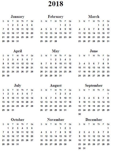 2018 Yearly Calendar Template Yearly Calendar 2018 Weekly Calendar Template