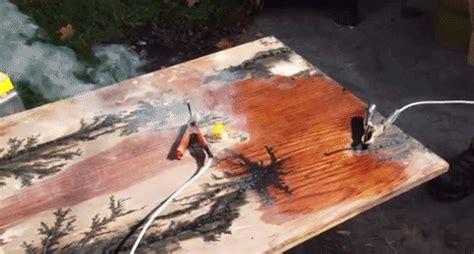 carpenter strikes wood  electricity  create stunning