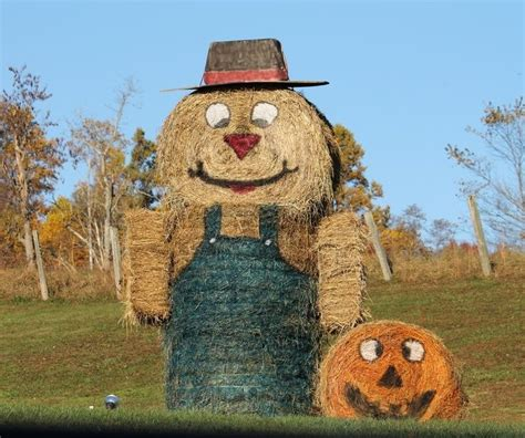 giant scarecrow   hay bales pictures