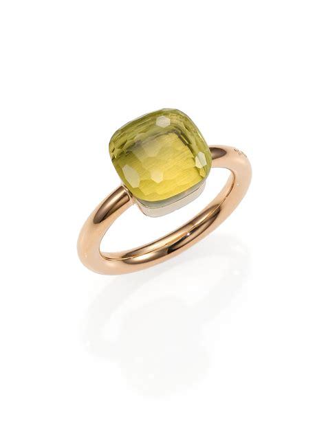 pomellato nudo pomellato nudo lemon quartz 18k gold ring in pink