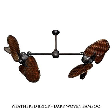twin star ii dual motor ceiling fan with woven bamboo