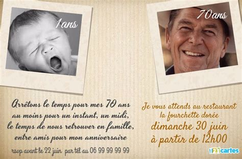 Invitation Anniversaire 70 Ans Passé Et Présent