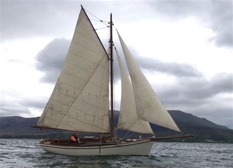 Lune Whammel Boat For Sale by Ed Burnett Gaff Cutter Wooden Sailing Yacht For Sale