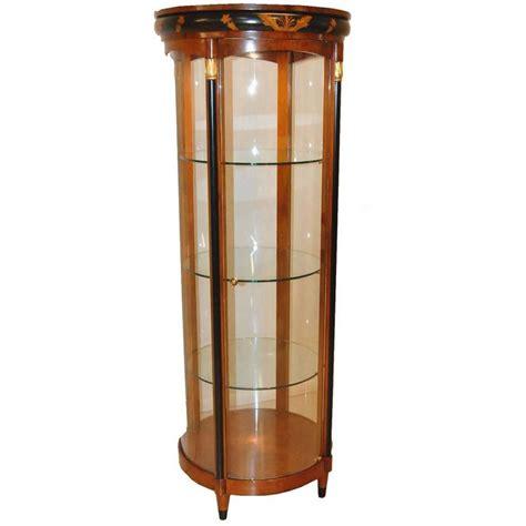 biedermeier style curved glass lighted curio cabinet
