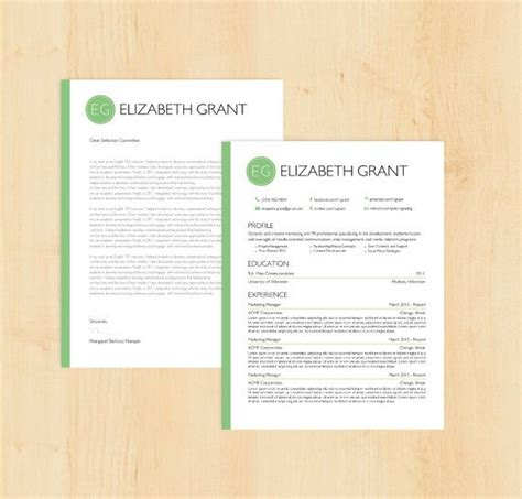 resume template cover letter template  elizabeth