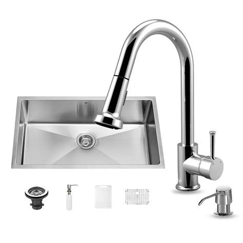 VIGO All in One Undermount Stainless Steel 32 in. 0 Hole
