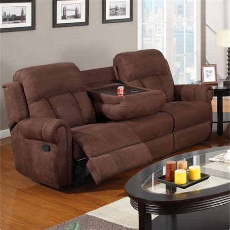 sofa with cup holders recliner sofa w cup holders chocolate microfibe 3