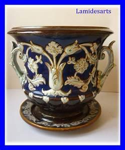 Cache Pot Bleu : cache pot barbotine style renaissance bleu et or 1880 ~ Teatrodelosmanantiales.com Idées de Décoration