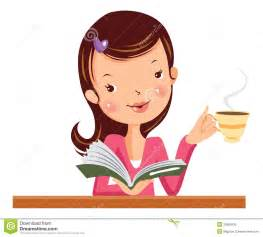 Cartoon Woman Drinking Coffee and Reading Images