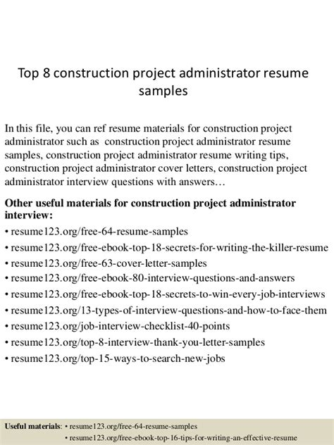Project Administrator Resume by Top 8 Construction Project Administrator Resume Sles