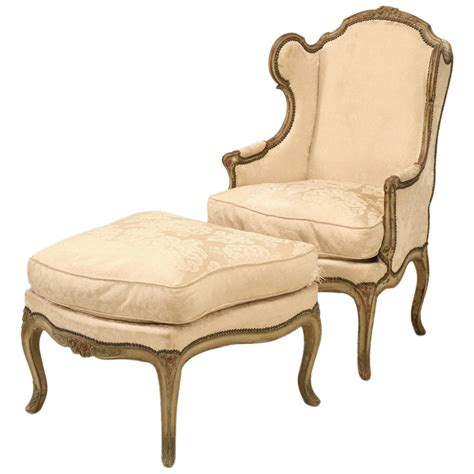 louis xv style antique bergere and ottoman in