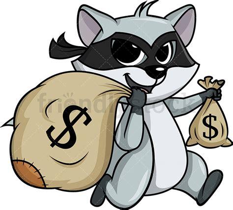 raccoon thief running   booty cartoon clipart