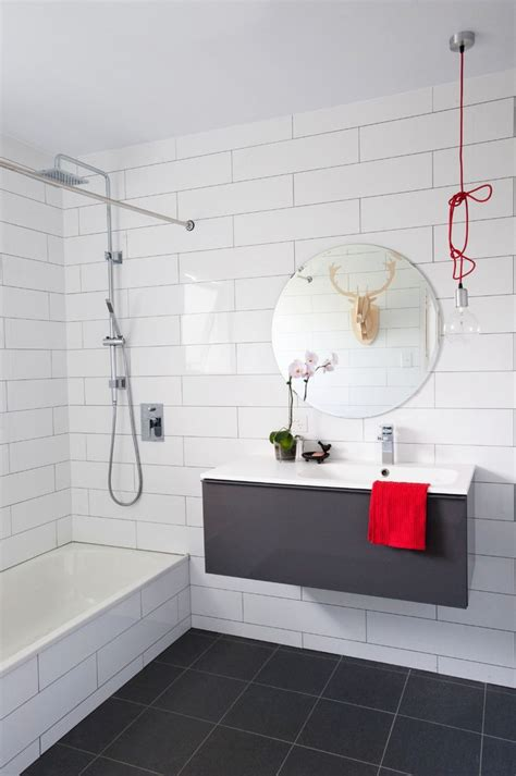 large subway tile large subway tile bathroom transitional with built in