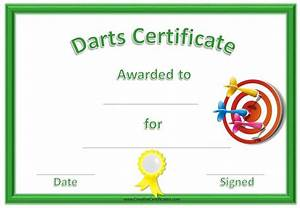 Customizable Award Certificates Free Printable Darts Award Customize Online Then Print