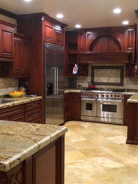 Kitchen Cabinet Colors And Countertops by Cherry Kitchen Cabinets With Gray Wall And Quartz