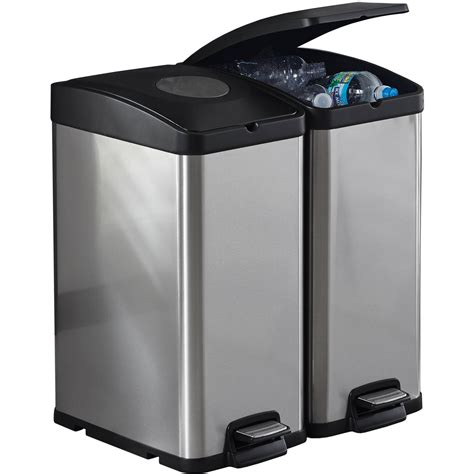 30l kitchen recycle trash bin stainless steel can recycling garbage sorter new 7597934452775 ebay
