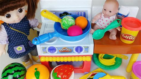 baby doll  play doh kitchen  refrigerator cooking