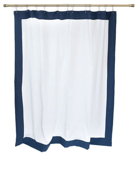 organic shower curtain mitered border navy