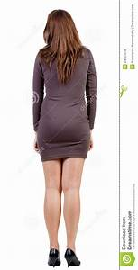 Back View Of Standing Beautiful Woman  Stock Photo
