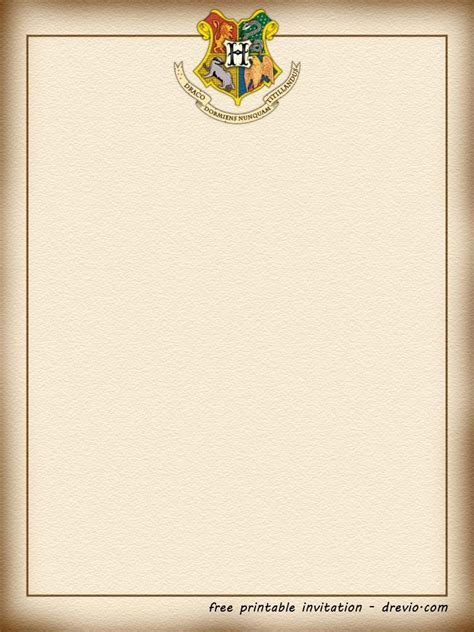 printable harry potter hogwarts invitation template
