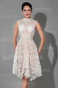 knee length white modest sexy high collar lace wedding With knee high dresses for weddings