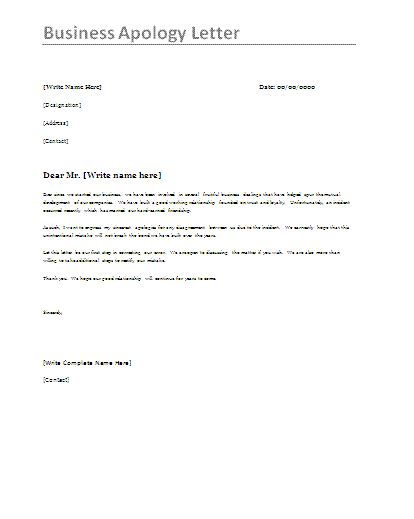 apology letter format  word templates