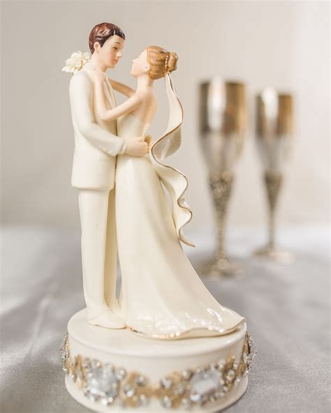 glam white porcelain and groom wedding cake topper wedding collectibles