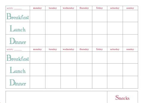 Meal Planner Template Word by Free Weekly Meal Planner Template Printable