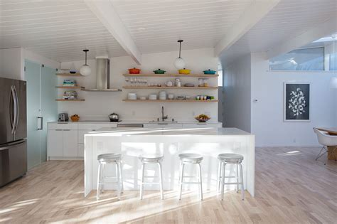 open plan white wood kitchen photo 2 of 5 in sunny renovation of an eichler great room from modern stools for your kitchen