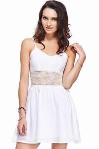 ROMWE Hollowed Waist White DressFor Women-romwe