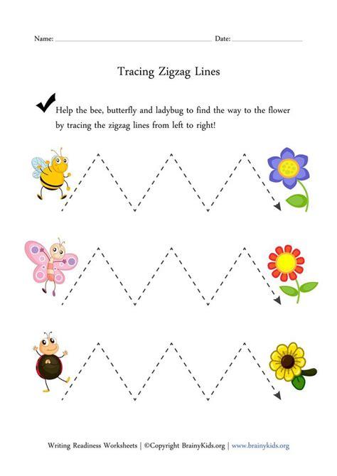tracing zigzag lines worksheet kindergarten worksheets