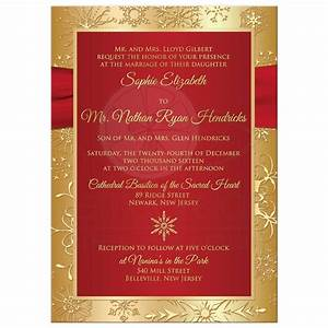 winter wedding invitation red gold snowflakes printed With dark red and gold wedding invitations