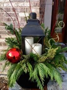 large lantern with evergreen wonderful winter urn