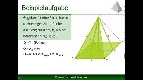 pyramide volumen und oberflaeche kostenloses mathevideo