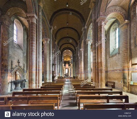 the interior of the church of notre dame la grande poitiers poitou stock photo royalty free