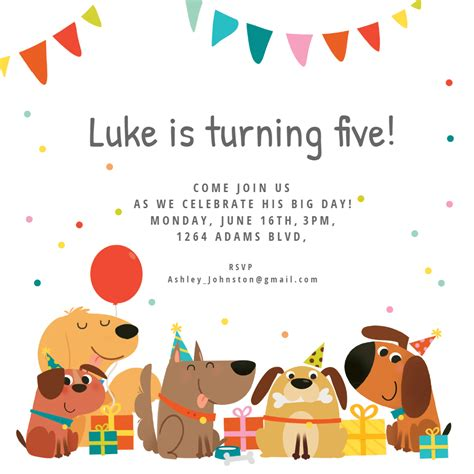 dog birthday invitation template   island