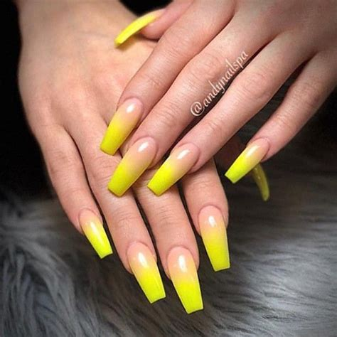 awesome acrylic nails coffin shape yellow www